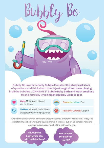 JOHNSON'S® Bubble Baby Bath & Wash Bubble Monster - Bubble Bo