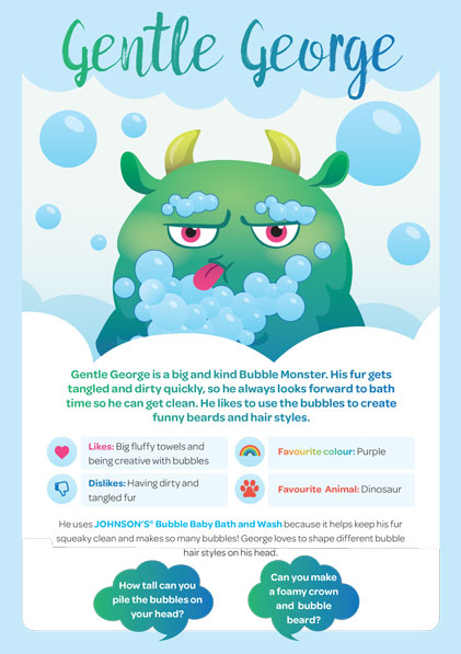 JOHNSON'S® Bubble Baby Bath & Wash Bubble Monster - Gentle George