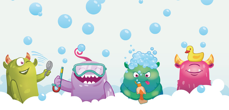 bathtime bubble monsters