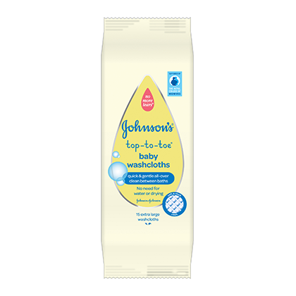 Top to Toe Baby Wash Cloths - JOHNSON'S® BABY